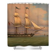 The English Brig Norval Before The Wind Shower Curtain