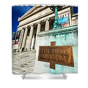 The Field Museum Sign In Chicago Shower Curtain by Paul Velgos