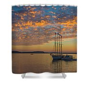 The Harbor At Sunrise Shower Curtain