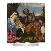 The Holy Family With A Shepherd Shower Curtain