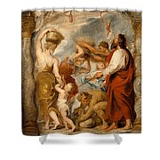The Israelites Gathering Manna In The Desert Shower Curtain