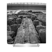 The Jetty In Black And White Shower Curtain