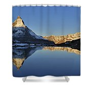 The Matterhorn And Riffelsee Lake Shower Curtain