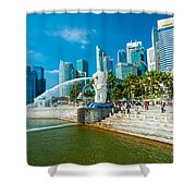 The Merlion  Fountain - Singapore Shower Curtain