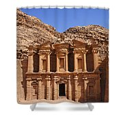 The Monastery Sculpted Out Of The Rock At Petra In Jordan Shower Curtain