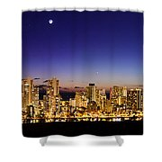 The Moon And Venus Over Honolulu Shower Curtain