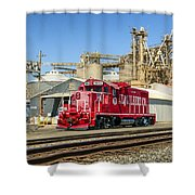 The Red Locomotive Shower Curtain
