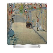 The Rue Mosnier With Flags Shower Curtain