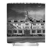 The Stanley Hotel Panorama Bw Shower Curtain
