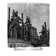 The Steel Mill In Black And White Shower Curtain