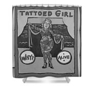 The Tattoed Girl In Black And White Shower Curtain