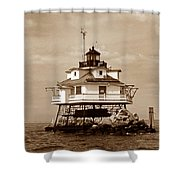 Thomas Point Shoal Lighthouse Sepia No. 2 Shower Curtain