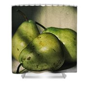 Three Pears Green Shower Curtain