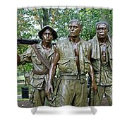 Three Soldiers Statue Shower Curtain