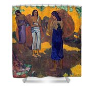 Three Tahitian Women Against A Yellow Background Shower Curtain