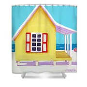 Tiny Yellow Cottage By The Sea Shower Curtain