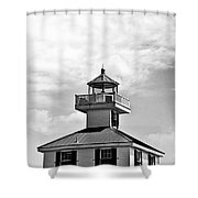 Top Of The New Canal Lighthouse - Bw Shower Curtain