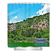 Tourboat Stops By Ancient Tombs In Daylan-turkey  Shower Curtain