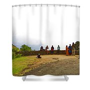 Tourists Posing For Photos Shower Curtain