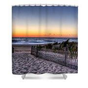 Tower Beach Sunrise Shower Curtain by David Dufresne