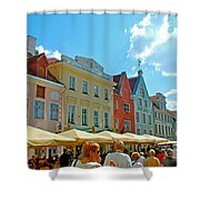 Town Square In Old Town Tallinn-estonia Shower Curtain
