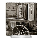 Train Station Luggage Cart Shower Curtain