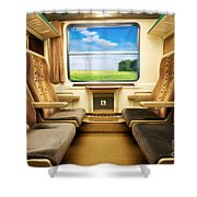 Travel In Comfortable Train. Shower Curtain