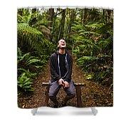 Travel Man Laughing In Tasmania Rainforest Shower Curtain
