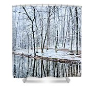 Tree Line Reflections In Lake During Winter Snow Storm Shower Curtain