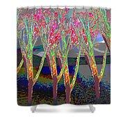 Trees Around Faal Season  Digitally Painted Photograph Taken Around Poconos  Welcome To The Pocono M Shower Curtain