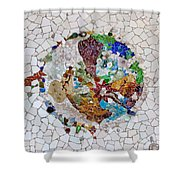Trencadis Mosaic In Park Guell In Barcelona Shower Curtain