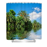 Tropical Exotic Jungle And Water Shower Curtain