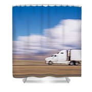 Truck On The Road, Interstate 70, Green Shower Curtain