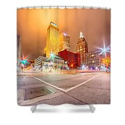Tulsa City Skyline Around Downtown Streets Shower Curtain