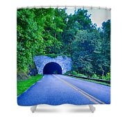 Tunnel Through Mountains On Blue Ridge Parkway In The Morning Shower Curtain