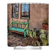 Turquoise Bench Shower Curtain