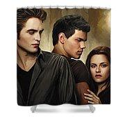 Twilight  Kristen Stewart And Robert Pattinson Artwork 2 Shower Curtain