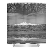 Twin Peaks Longs And Meeker Lake Reflection Bw Shower Curtain