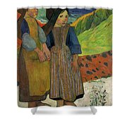 Two Breton Girls By The Sea Shower Curtain