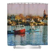 Two Lobster Boats On Marblehead Harbor With A Red Sky Shower Curtain