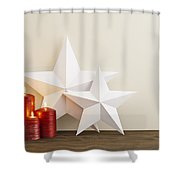 Two Stars With Red Candles Shower Curtain