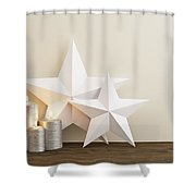 Two Stars With Silver Candles Shower Curtain