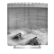 Two Stones Mono Shower Curtain