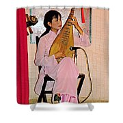 Two-stringed Lute Player At Wedding Ceremony Show In Binh Quoi Village-vietnam  Shower Curtain