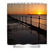 Tynemouth Pier Sunrise Shower Curtain