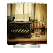 Typewriter And Whiskey Shower Curtain