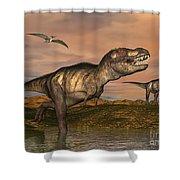 Tyrannosaurus Rex Dinosaurs Shower Curtain