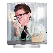 Unhappy Nerd Businessman Yelling Down Retro Phone Shower Curtain