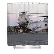 U.s. Marines Board A Ch-46 Sea Knight Shower Curtain by Stocktrek Images