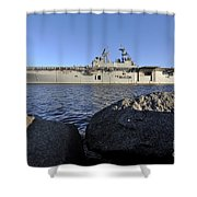 Uss Bataan Arrives At Naval Station Shower Curtain